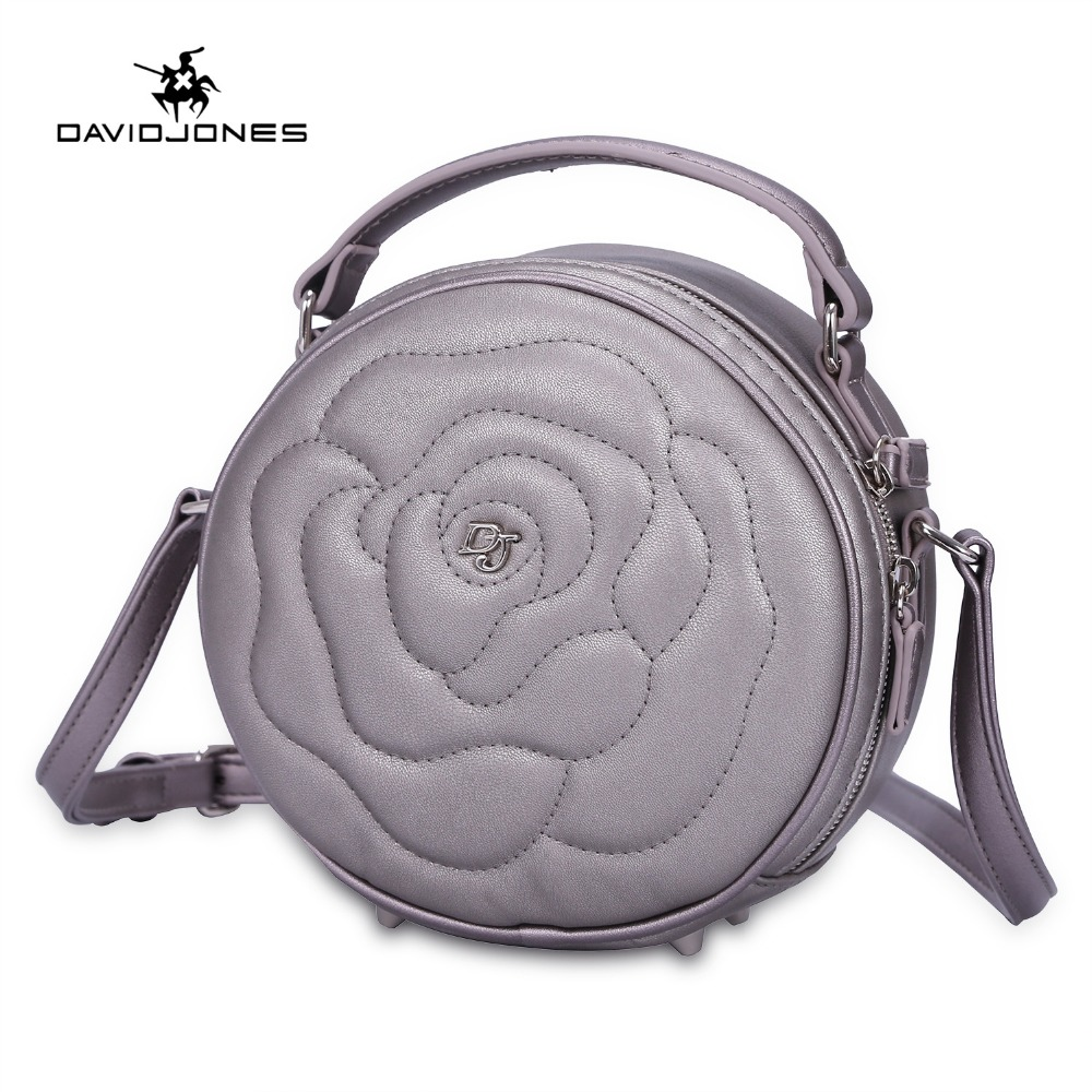 DAVIDJONES women handbag faux leather female messenger bags small lady flowers shoulder bag girl brand round bag drop shipping летняя шина toyo proxes t1 sport 245 45 r19 102y xl