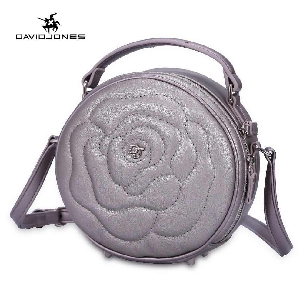 fb8c892057e3 DAVIDJONES женские сумки искусственная кожа женские сумки через плечо  маленькая леди цветы сумка девушка бренд круглый