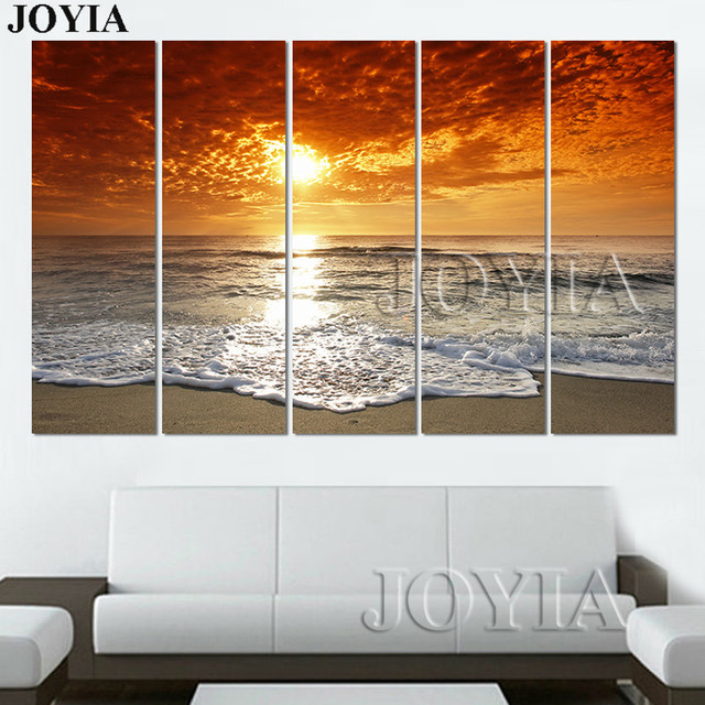 3 4 5 piece sunrise beach canvas art ocean seascape paintings on