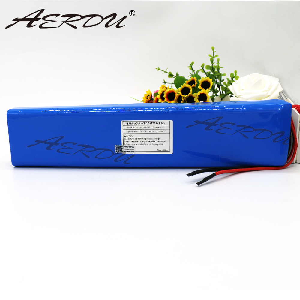 AERDU 36V 10S4P 10Ah 42V 18650 Strip lithium ion battery pack For ebike electric car bicycle motor scooter with 20A BMS 600Watt