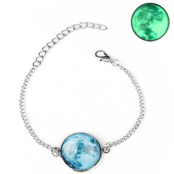 DIEZI Glow In The Dark Glass Cabochon Gray Moon Luminous Jewelry Silver Chain Link Bracelets