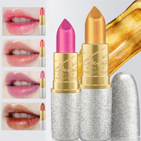 Brand HengFang Glitter Lipstick Matte Red Nude Lips Makeup Lip Waterproof Gold Shimmer Metallic Shimmer Matt Lipstick Pencil