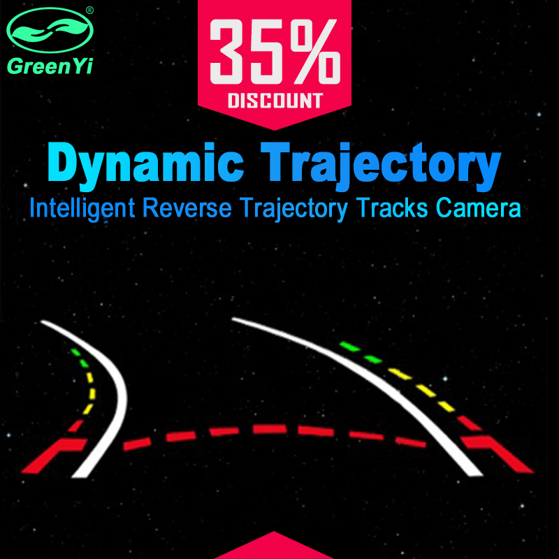 GreenYi Intelligent Dynamic Trajectory Tracks Vehicle Rear View Camera HD Car Reverse Camera Auto Waterproof Parking Assistance byncg 12 leds intelligent dynamic trajectory tracks rear view camera ccd reverse backup camera auto reversing parking assistance