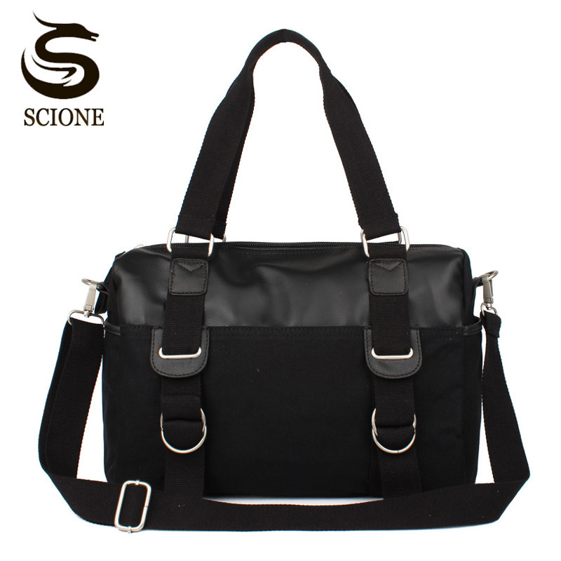 Scione Men Canvas Travel Bag PU Leather Crossbody Bag Patchwork Shoulder Bags Mens Travel Duffle Bag Vintage Messenger Handbag