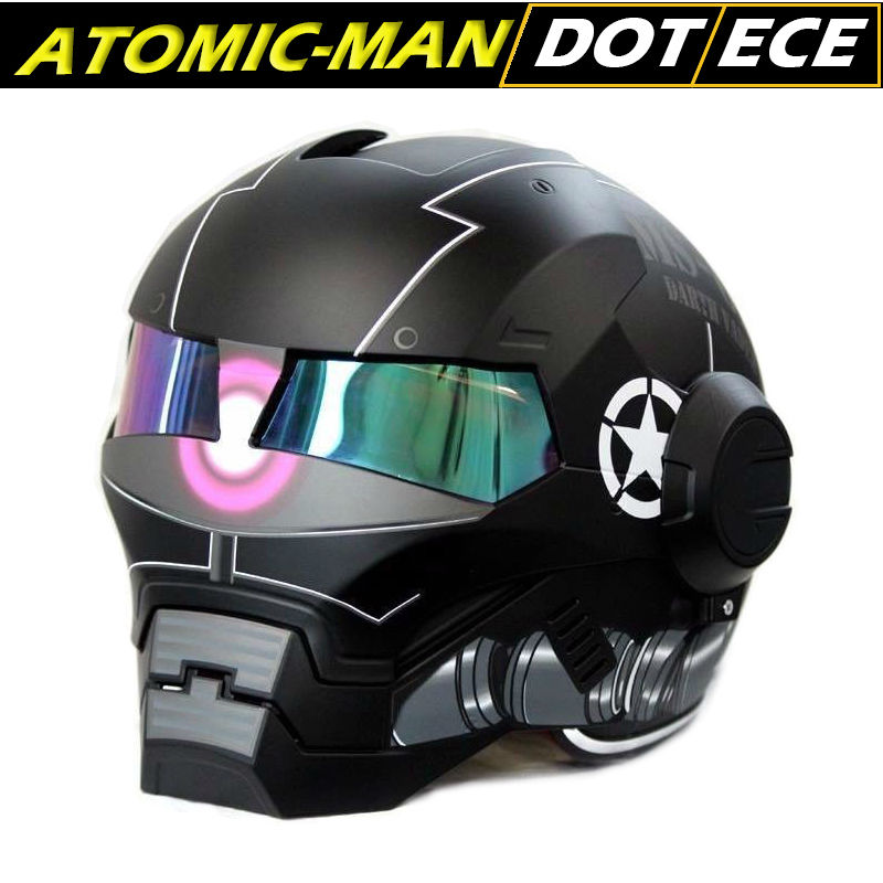 Black Knight Iron Man Atomic-Man Helmet 610 Masei Zaku Stormtroop Helmets 3/4 Open Face DOT Ironman new coming 2016 шлем для мотоциклистов masei abs 610