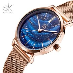 Image 2 - Shengke Luxe Vrouwen Horloges Romantische Starry Blue Dial Mesh Roestvrij Stalen Band Ultra Dunne Case Quartz Horloge Reloj Mujer
