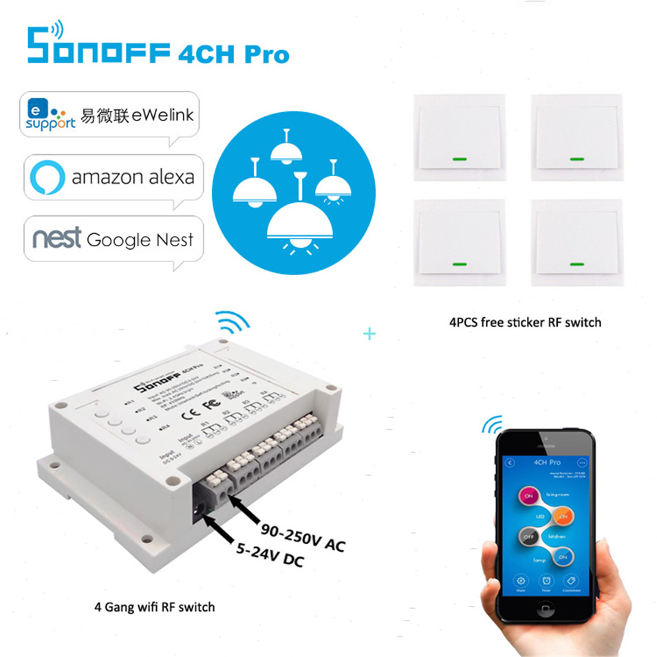Sonoff 4CH Pro 4 Channel WiFi RF Smart ON/OFF Remote Switch with free Wall Switch sticker work with Alexa/Google Nest/Ewelink sonoff 4ch channel remote control smart wifi switch home automation module on off wireless timer diy switch din rail mounting