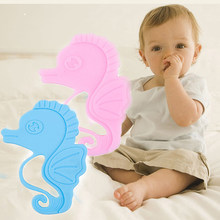 New Baby Teether Food Grade Soft Silicone Teething Toys Kids Sea Horse Shaped Chewing Toy Pendant Nursing Necklace Teethers(China)