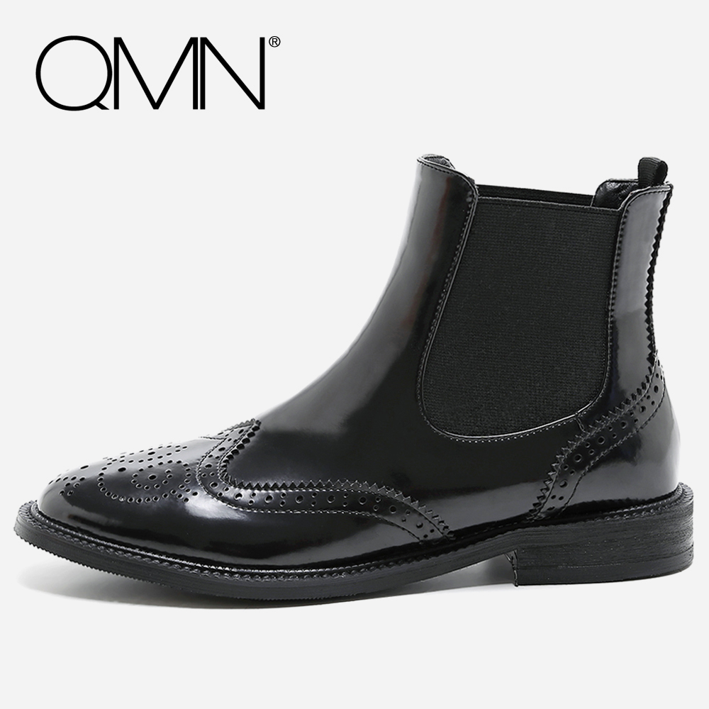 QMN women genuine leather ankle boots for Women Square Toe Glossy Leather Chelsea Boots Brogue Shoes Woman Boots Botas 34-39 qmn women laser cut genuine leather platform flats women square toe height increasing brogue shoes woman flats creepers 34 39