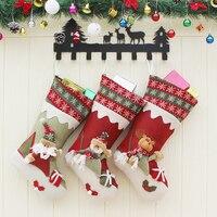 3Pcs New Year Christmas Stockings Socks Santa Claus Candy Big Gift Bag Xmas Tree Decor Pendant