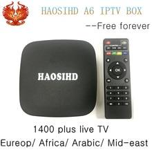 Envío siempre android tv box FireTV HAOSIHD A6 free1400 HD Árabe europa Africa America tv en vivo bueno para REINO UNIDO Italia Suecia Holanda