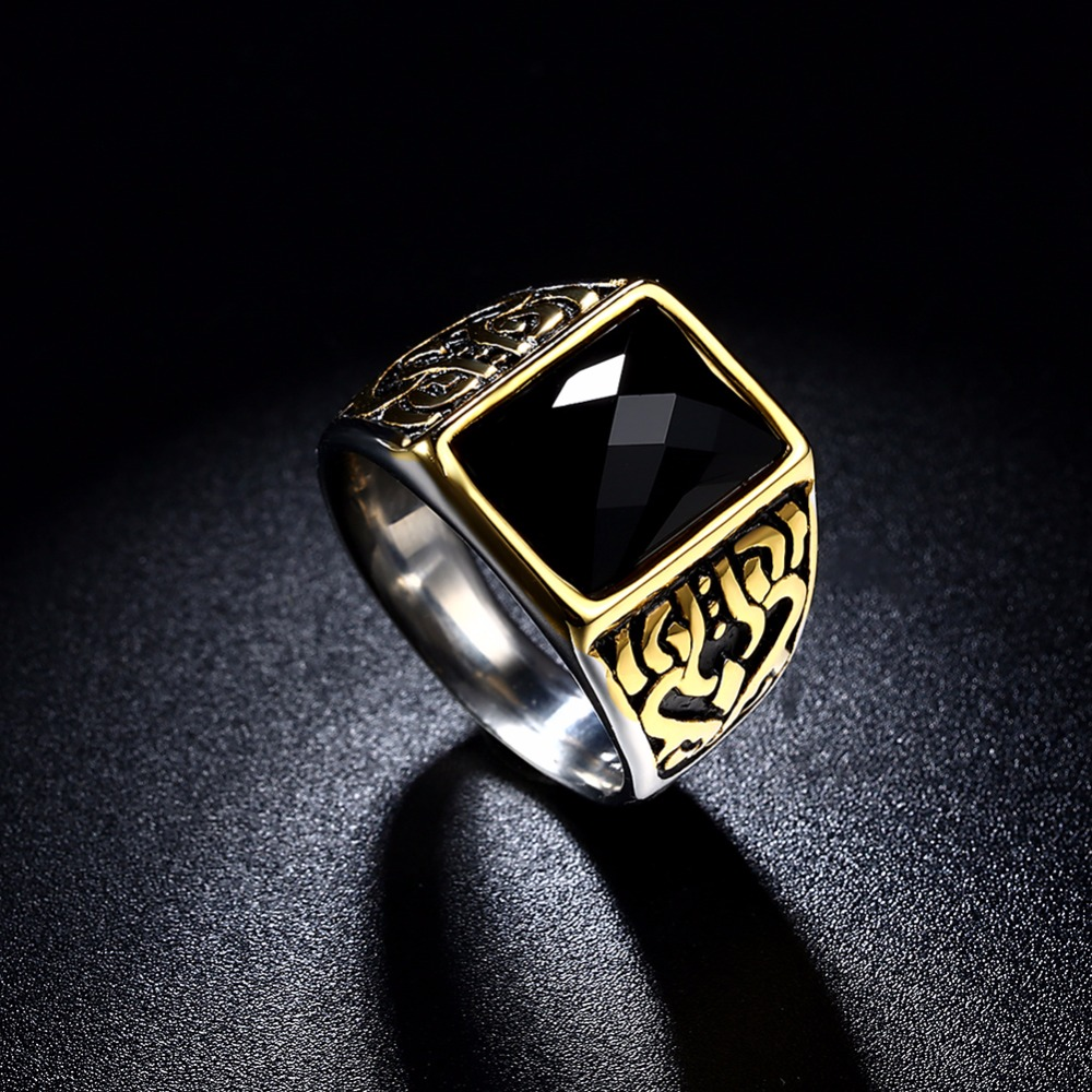 Fashion NEW Arrival Gold Color Retro Style Mosaic AAA Black Crystal stone antique big Man ring (MEEKCAT MR3257)
