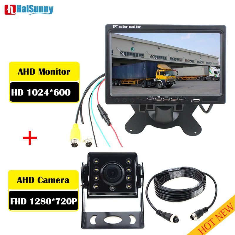 HaiSunny 2019 Backup Camera and Monitor Kit For Truck Trailer Bus RV Pickups Trailer AHD 1280 x 720P Reverse Rear view Cam Kit in Car Monitors from Automobiles Motorcycles