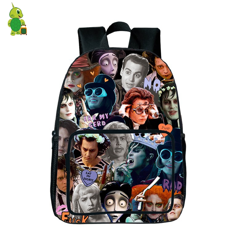 Famous Johnny Depp Backpack Tim Burton Characters Overlay School Backpack For Teenagers Boys Girls Laptop Bags Travel Daypacks