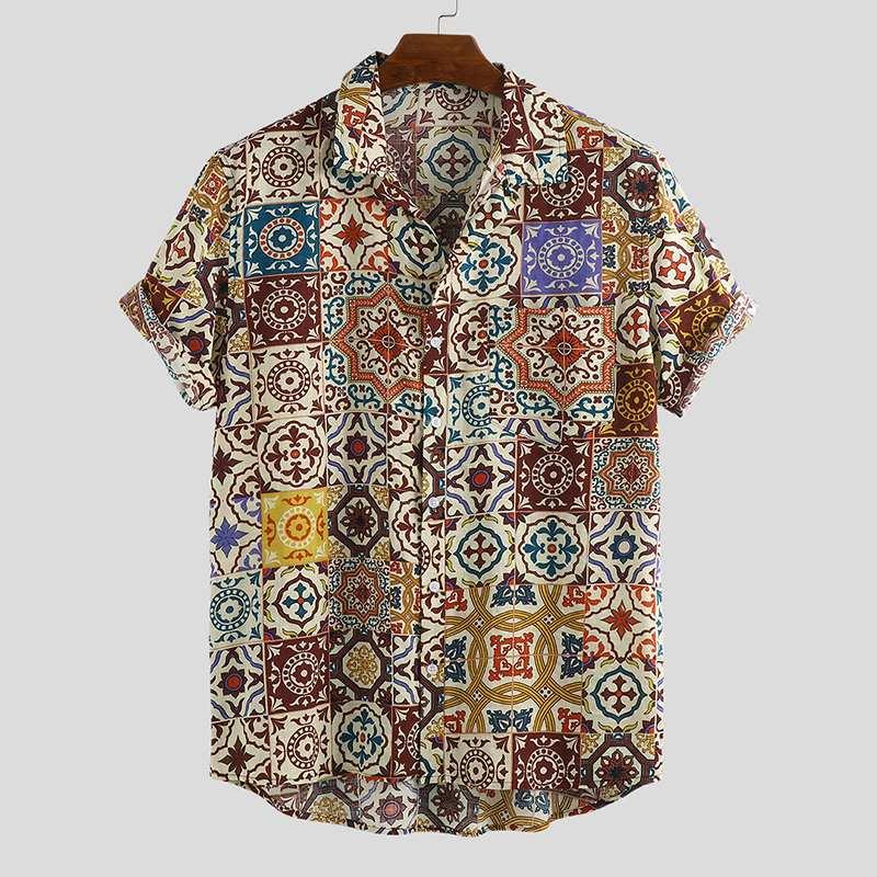 Summer Printing Mens Hawaiian Shirt Beach Breathable 2020 Vacation Lapel Neck Blouse Short Sleeve Casual Ethnic Style Shirts Men