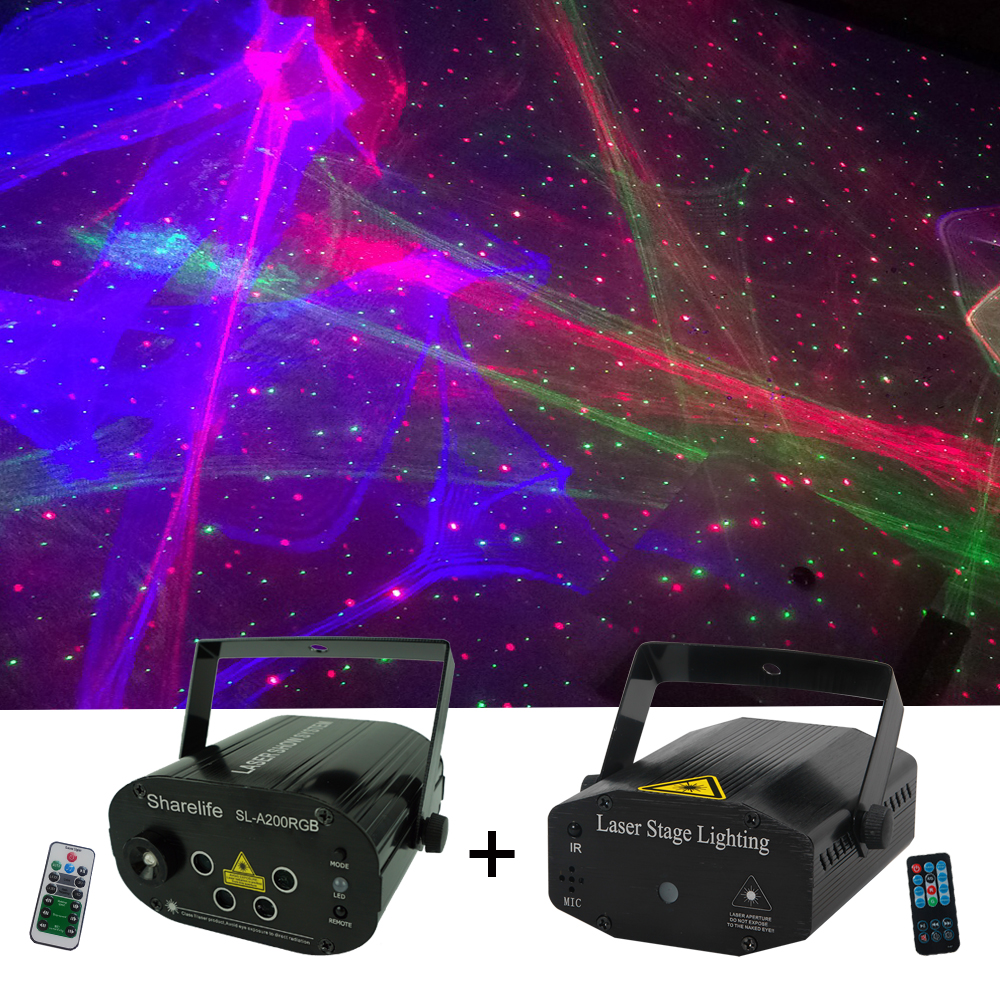 Sharelife 2pcs Set RGB Hypnotic Aurora & RG Star Laser Light Remote Control Speed DJ Gig Party Home Mini Stage lighting