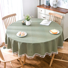 Garden home large round tablecloth tablecloth, green small plaid cotton and linen table cloth coffee