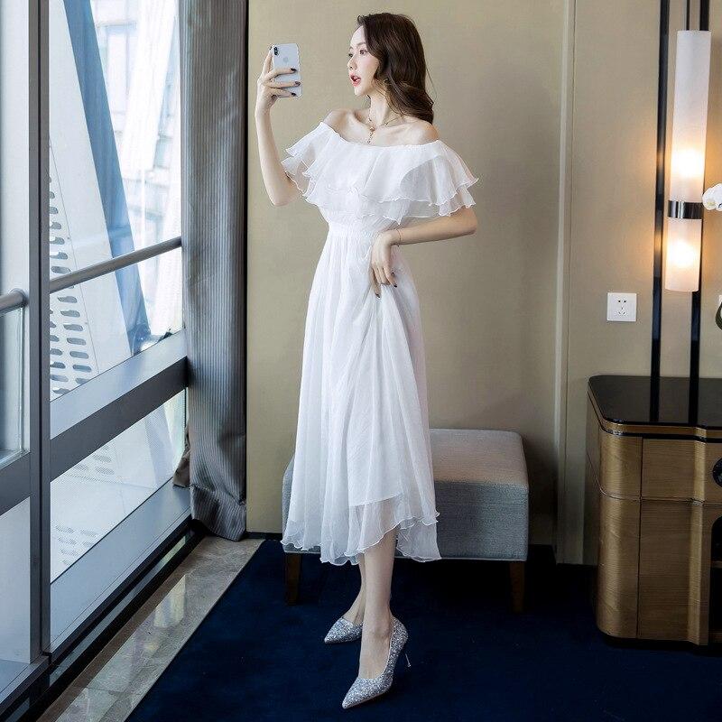 Grande taille a-ligne robe 2019 été femmes blanc à manches courtes volants Slash cou plage Boho longue robe élégante Maxi robe dames - 5