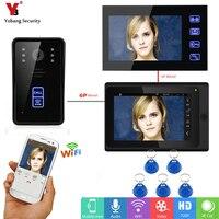 Yobang безопасности беспроводной видео телефон двери Wifi 7 дюймов монитор RFID визуальный домофон с видео связью 1 Камера 2 монитор приложение упр