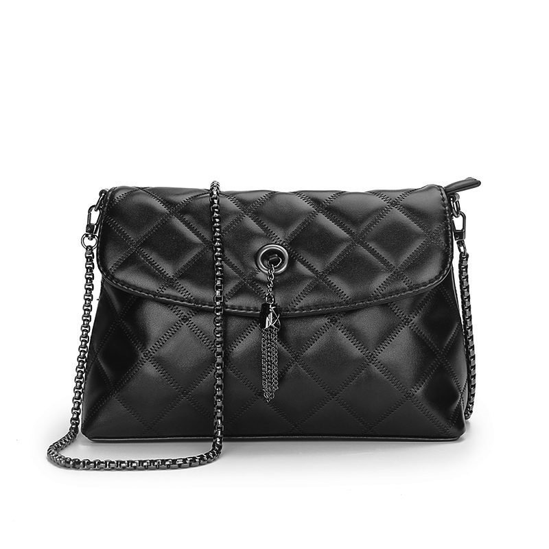 Occident Style Classic Ladies Quilted Bag Imported PU Leather Fashion Diamond Lattice Women Shoulder Bag Black