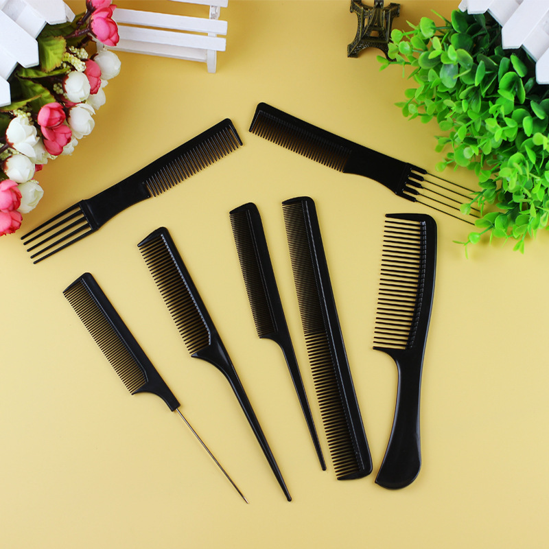 10pcsSet Professional Hair Brush Comb Salon Barber Anti-static Hair Combs Hairbrush  Hair Care Styling Tools Black