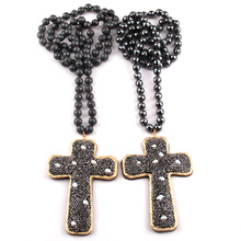 45f08ba8ab15 Moda Bohemia joyería facetas piedra hematita anudada cristal pavimentado  perla decoración Cruz colgante collares