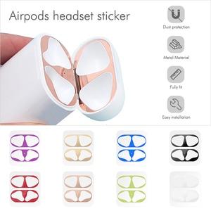 Image 2 - Металлический пылезащитный стикер для Apple AirPods, чехол, ультратонкий аксессуар, защитная наклейка, Пыленепроницаемая Защита кожи для AirPods 2