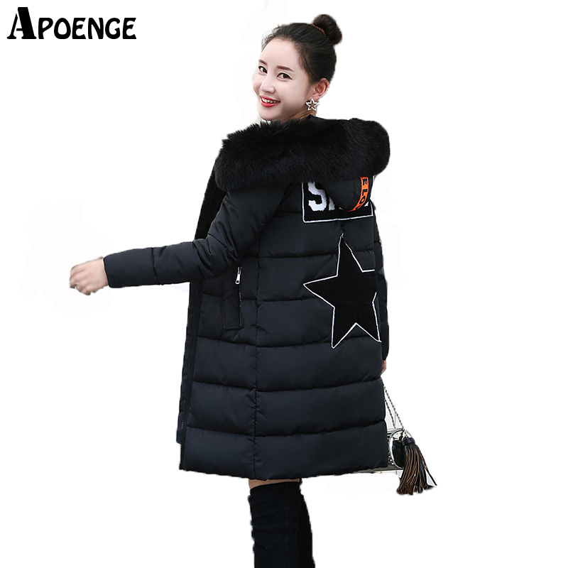 APOENGE Plus Size 3XL Women Winter Cotton Jacket Coat 2017 Femme Thick Wark Long Hooded Faux Fur Collar Back Star Parka QN570 apoenge plus size women winter jacket 2017 winter long thick coat with fur collar hooded cartton cotton padded parka mujer qn637