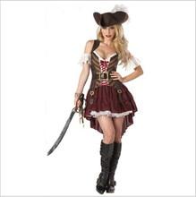 هالوين زي للنساء مثير الكاريبي الكابتن القراصنة ازياء الكبار الإناث المحارب يتوهم تأثيري فستان الملابس كرنفال