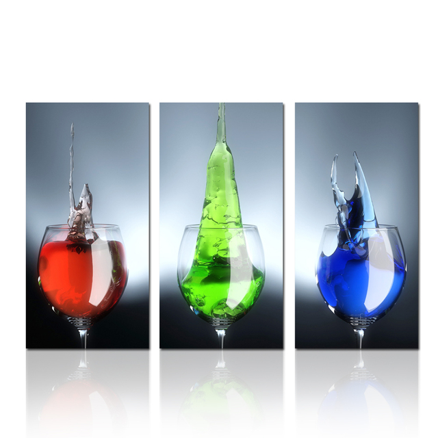 Wine Glass Photo Print Wall Art Modern Triptych Canvas