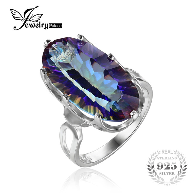 Jewelrypalace 11.8ct côncavo genuine íris místico azul topázio anel de cocktail para as mulheres 925 sterling silver moda presente do partido
