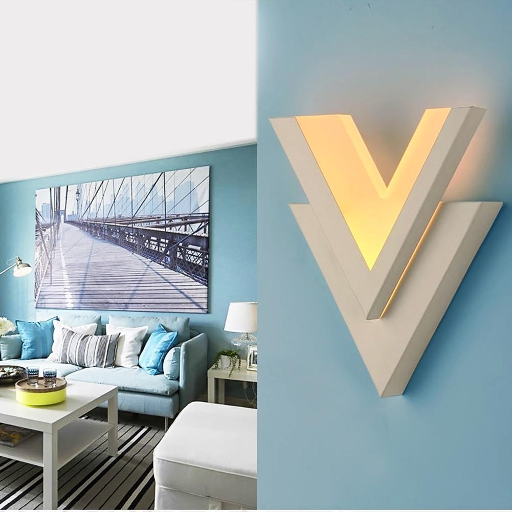 Eletorot Modern V Shape Led Wall Lamp Iron+Acryl 8W 100V-250V Wall Light For Bedroom Bathroom Fixture Wall Sconce Warm Light modern 8w 720lm 5000k 8 led up