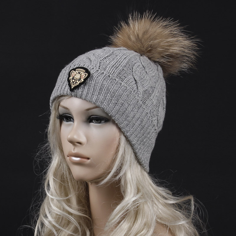 2016 new casual style striped knit hat with  fur ball brand new beanies gorros