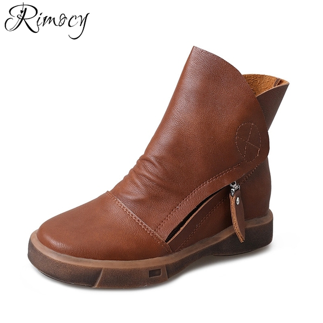 Rimocy leather ankle boots for women flat heels retro brown waterproof short botas elegant ladies winter casual shoes woman 2017