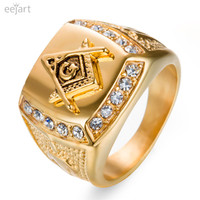 Stainless Steel Freemason Ring Wholesale Cz Diamond Ring Men Gold Masonic Ring
