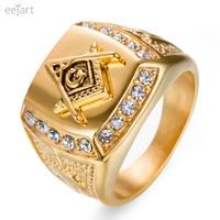 Stainless Steel Freemason Ring Wholesale Cz Diamond Ring Men Gold Masonic Ring