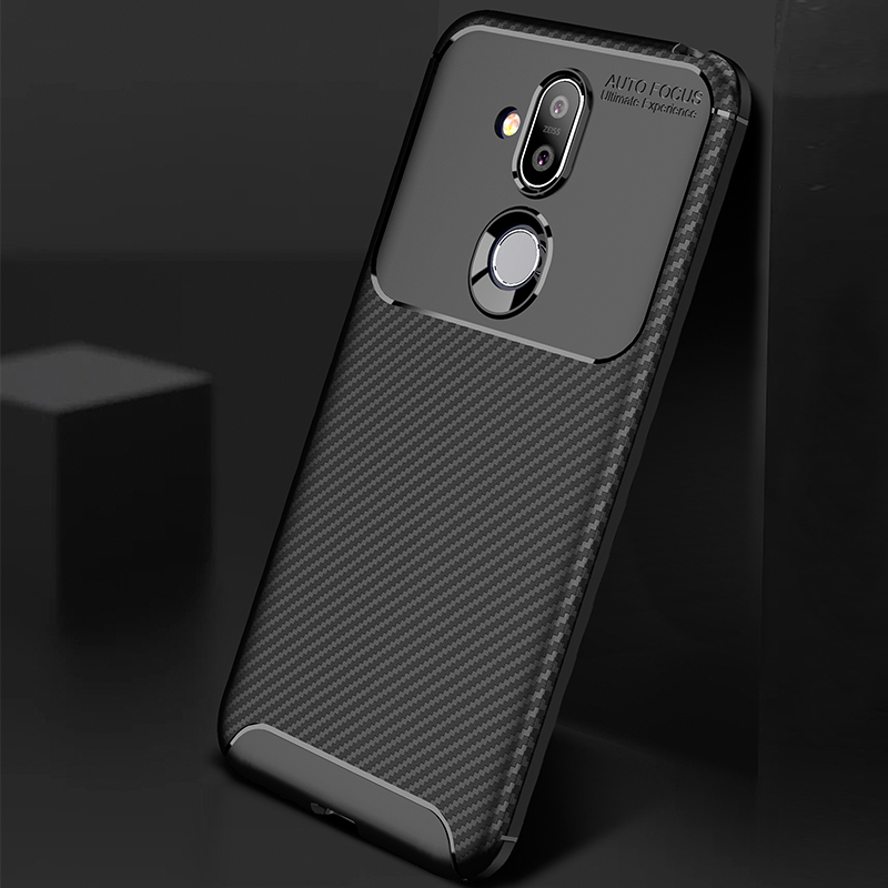buy popular 42af1 e6d66 MAKAVO Soft Silicone Phone Cases For Nokia 6.1 Plus 7.1 8.1 Case Carbon  Fiber TPU ShockProof Cover Fitted Case For Nokia X6 X7
