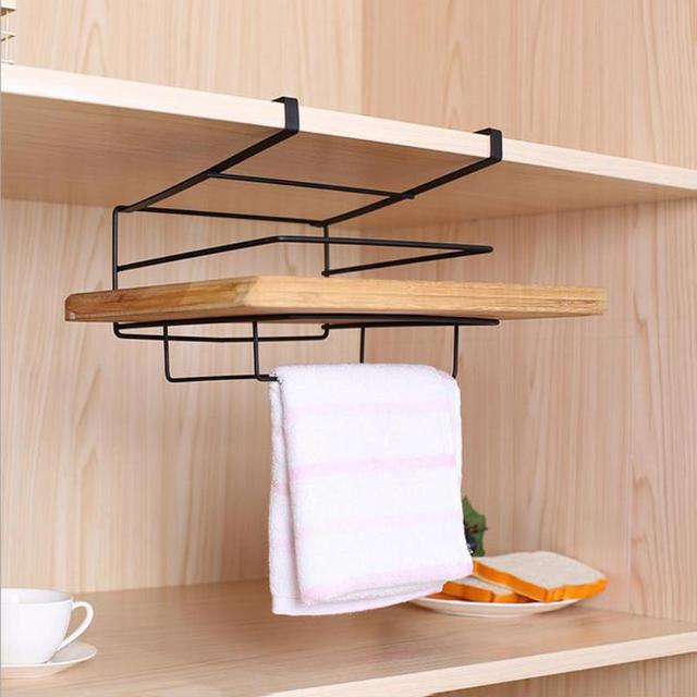 Multi Functional Kitchen Cabinet Storage Rack Punch Free Cutting Board  Holder Wardrobe Clothing Hanger