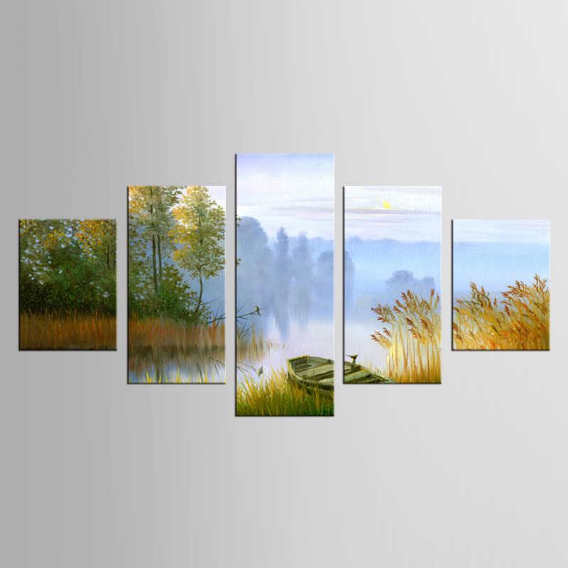 5 sztuk malarstwo na płótnie malarstwo krajobraz łódź w rzece na płótnie sztuki dekoracji wnętrz dekoracje obraz wystrój