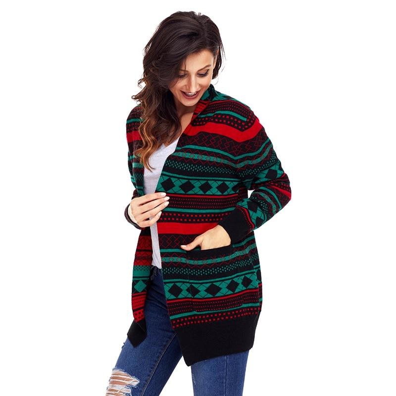 Suéter Navidad Estampado Las Otoño Manga Mujeres Black Con Geométrico Casual green Cardigan Preisei Larga Bolsillo Mujer Invierno De red Pr27805 E7OqdZn