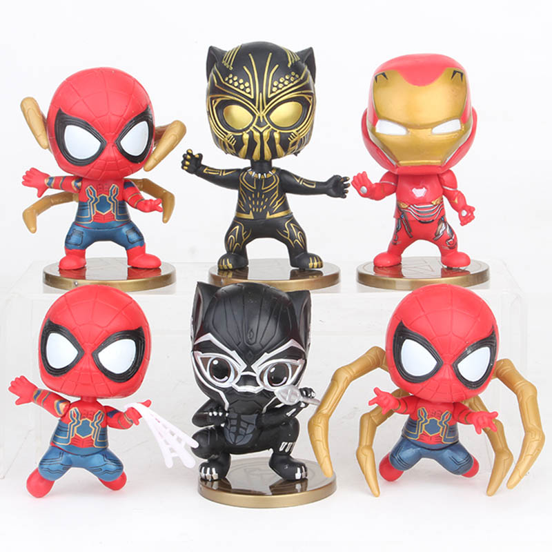 Toys & Hobbies Iron Spider 6pcs/set Mini Action Figures 1/10 Scale Painted Figure Iron Man Mk50 Black Panther Pvc Figure Toys Brinquedos Anime