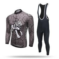 New Long Sleeve Cycling Sets Dark Grey Tiger Anti sweat Jersey and GEL Pad Bib Pants Road MTB Bike Bicycle Jersey Suit Ciclismo
