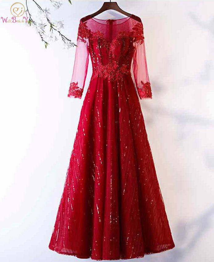 Walk Beside You Burgundy   Prom     Dresses   Sequined Beaded 3/4 Long Sleeves See Through A-line Long Evening Gown Crystal   Dress   Sexy