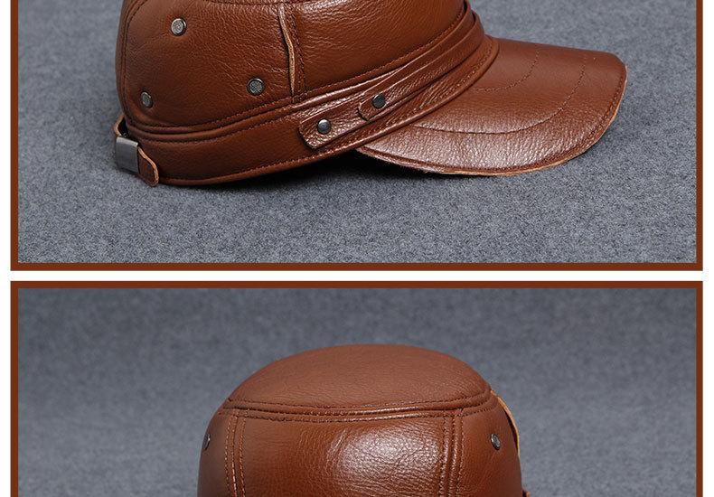 Men\'s Leather Hat - warm winter baseball cap - Korean fashion outdoor peaked cap _21