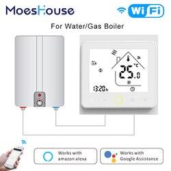 Termostato inteligente wifi caldeira a gás controlador de temperatura tuya app controle remoto água calor funciona amazon alexa eco google casa