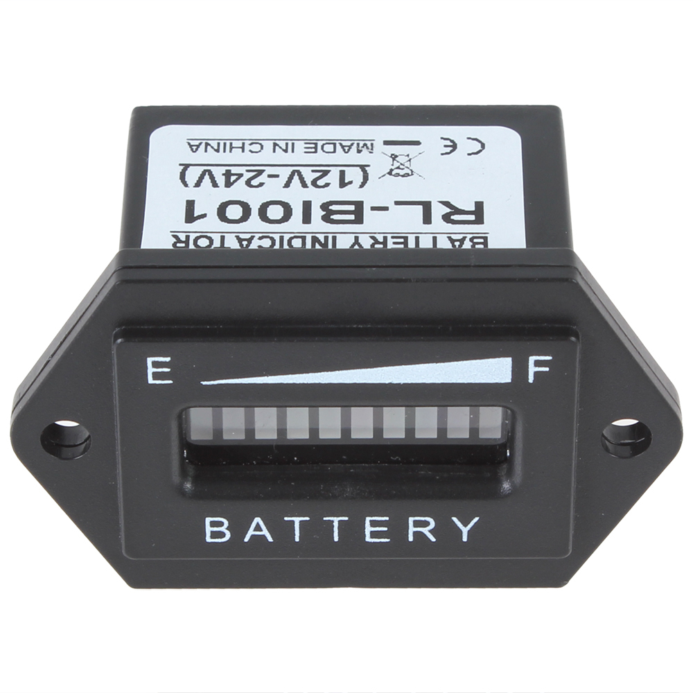Battery Status Charge Indicator Monitor Meter Gauge Rectangle Three Flashing Led Color Car Indicator12v 24v In Measurement Units From