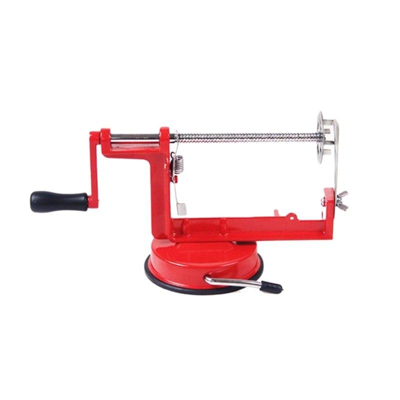 Ev Aletleri'ten Elektrikli Soyma Aletleri'de Patates büküm dilimleyici paslanmaz çelik mutfak aksesuarları Spiral talaş dilimleme manuel kesme makinesi kırmızı Metal title=
