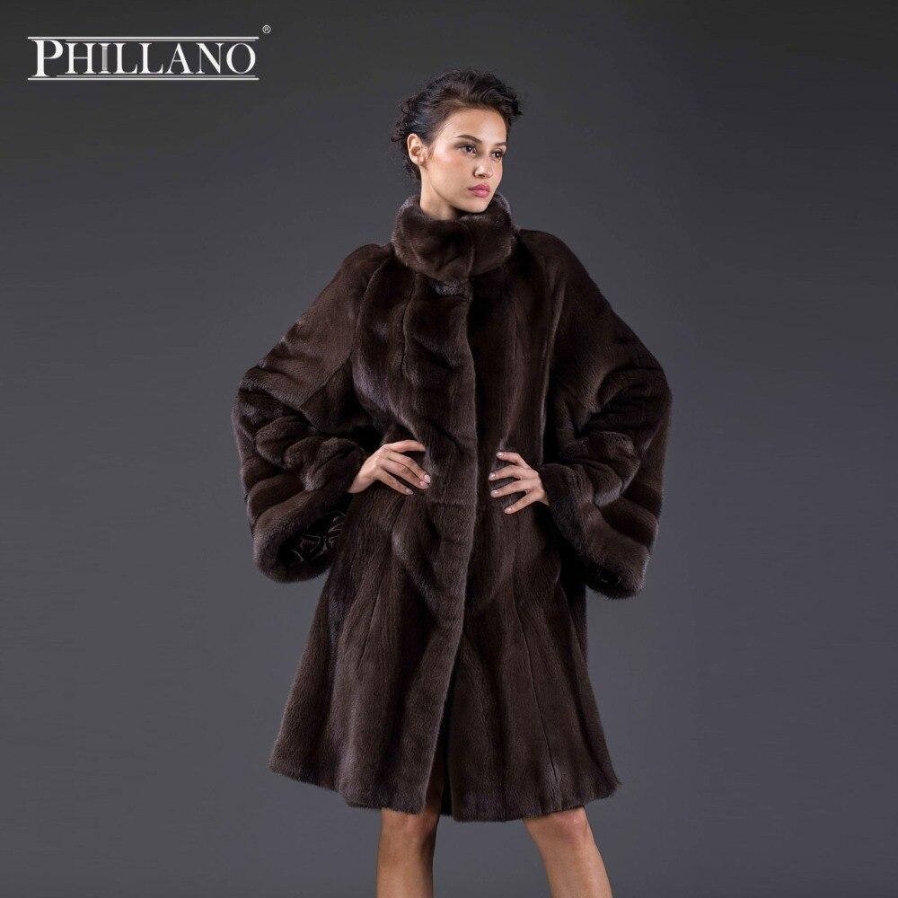 PHILLANO Novinka 2017 Premium Dámské oděvy z norského přírodního kožichu Bat rukávový kabát norek Skandinávie Dánsko NAFA YG14046-100