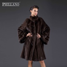 PHILLANO New 2017 Premium Women mink garment natural fur coat Bat sleeve style coat of mink Scandinavia Denmark NAFA YG14046-100