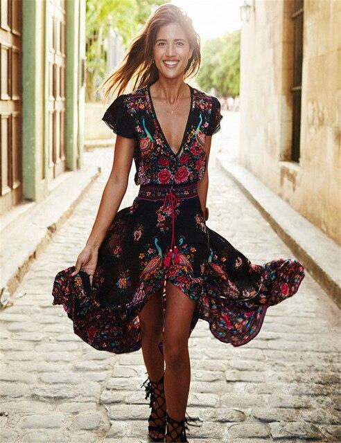 Новое Женское летнее платье с v-образным вырезом в винтажном стиле Бохо длинное цветочное национальное шифоновое Вечерние платье праздничное пляжное платье цветочный Сарафан